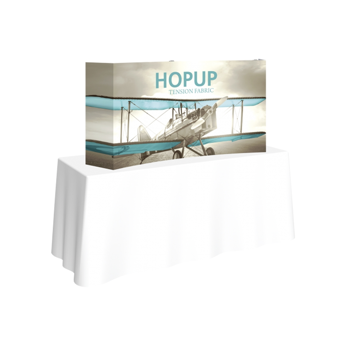 Pop-Fab 2x1 Tabletop Curved Tension Fabric Display